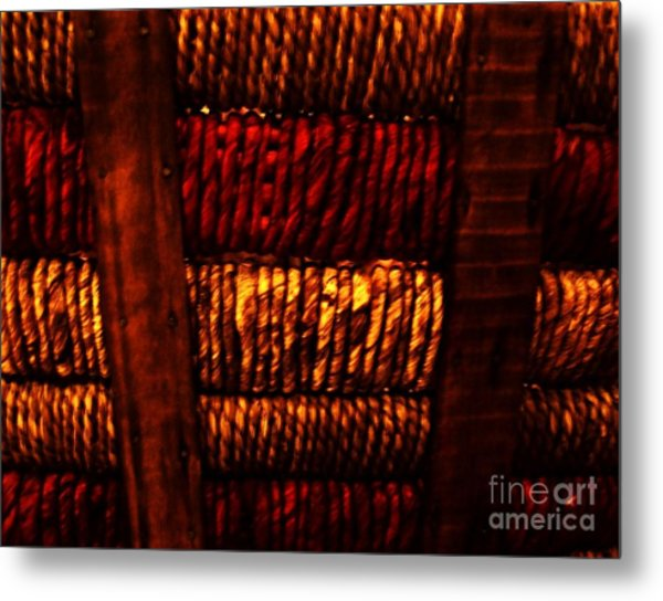 Abstract Ribbed Rows Metal Print by Marsha Heiken