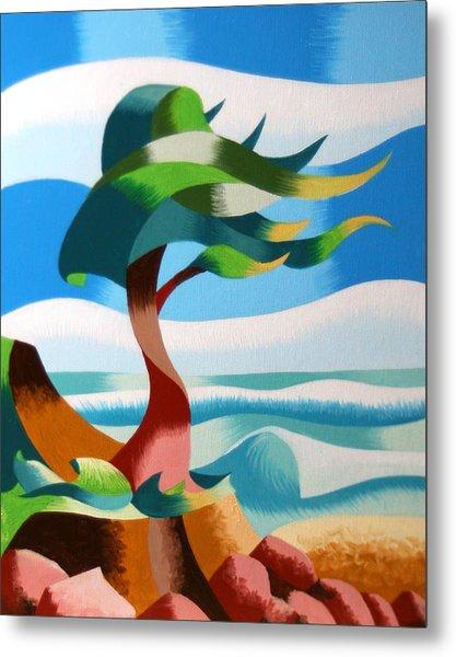Abstract Rough Futurist Cypress Tree Metal Print