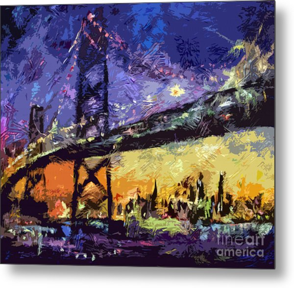 Abstract San Francisco Oakland Bay Bridge At Night Metal Print