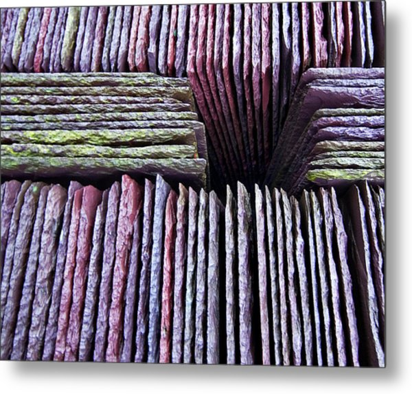 Abstract Slate Pile Metal Print by Meirion Matthias
