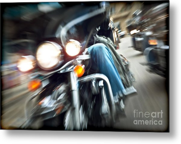 Abstract Slow Motion Bikers Riding Motorbikes Metal Print by Anna Om