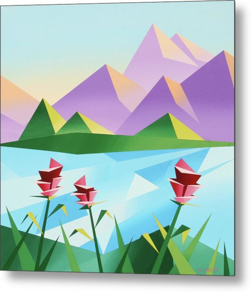 Abstract Sunrise At The Mountain Lake 2 Metal Print by Mark Webster