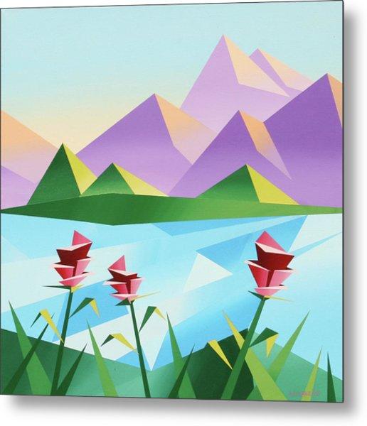 Abstract Sunrise At The Mountain Lake 2 Metal Print