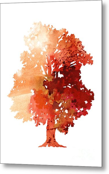 Abstract Tree Watercolor Poster Metal Print