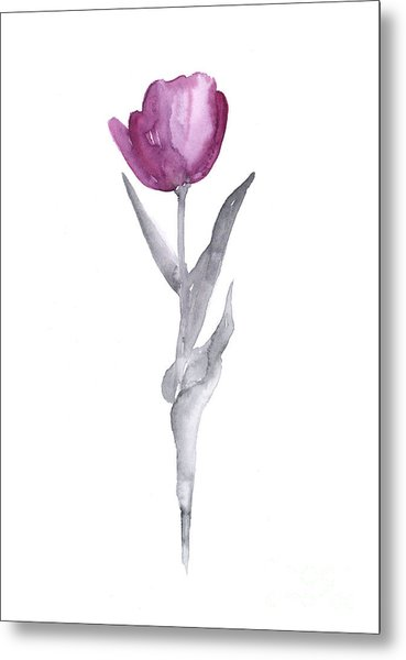 Abstract Tulip Flower Watercolor Painting Metal Print