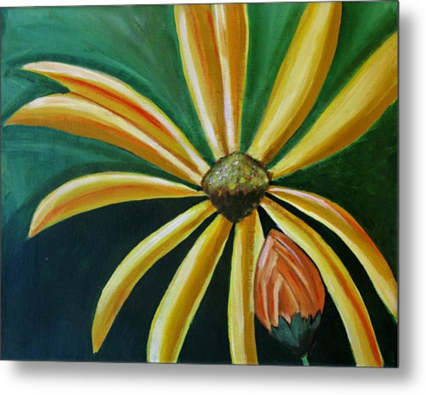 Abstract Yellow Sunflower Art Floral Painting Metal Print