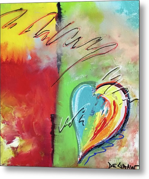 Abstract With Heart Metal Print