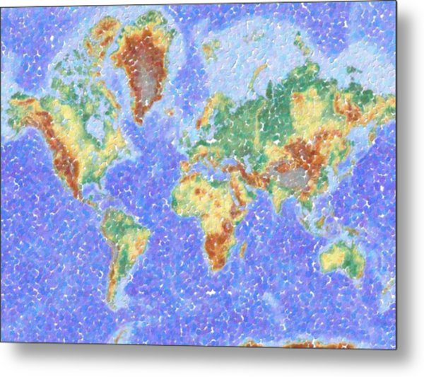 Abstract World Map Aboriginal Dotted Style Metal Print