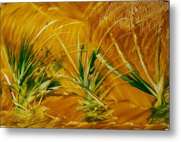 Abstract Yellow, Green Fields   Metal Print
