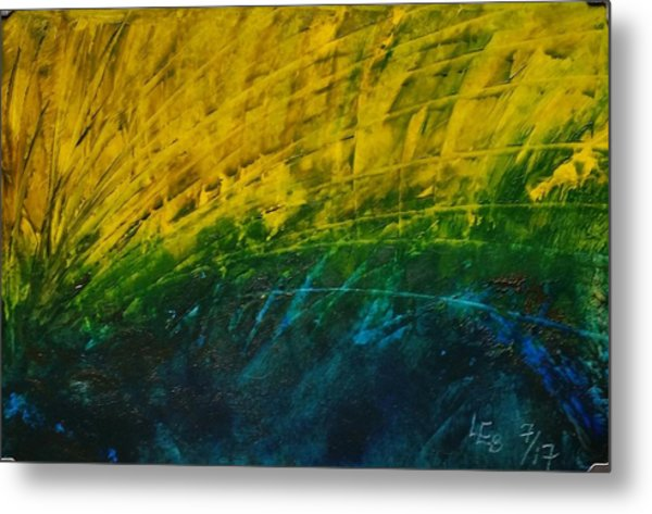 Abstract Yellow, Green With Dark Blue.   Metal Print