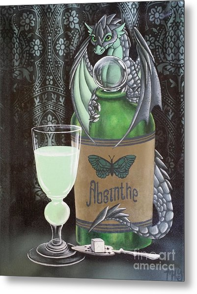 Metal Print featuring the painting Absinthe Dragon by Mary Hoy