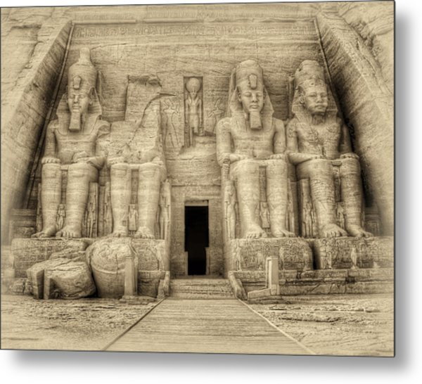 Abu Simbel Antiqued Metal Print