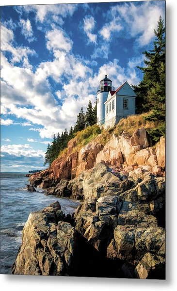 Metal Print featuring the painting Acadia Bass Harbor Lighthouse by Christopher Arndt