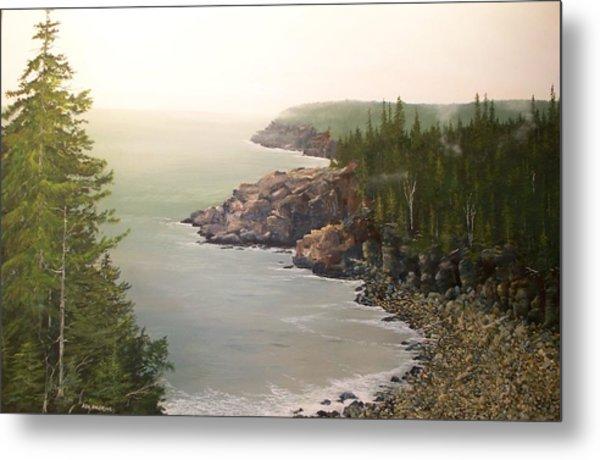 Acadia Maine Morning Mist Metal Print