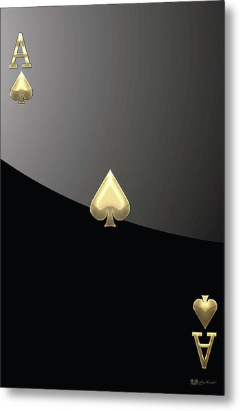 Ace Of Spades In Gold On Black   Metal Print