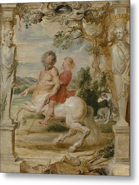 Achilles Educated By The Centaur Chiron Metal Print