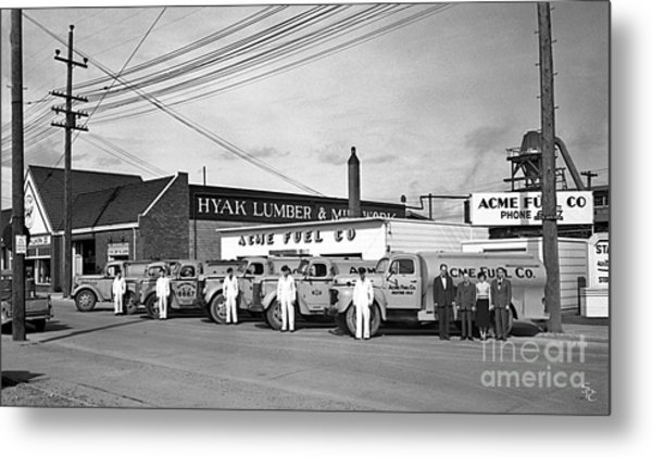 Metal Print featuring the photograph Acme Fuel Crew And Trucks by Merle Junk