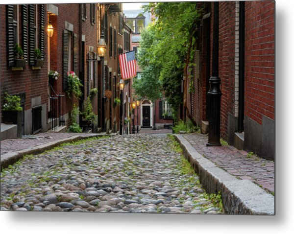 Metal Print featuring the photograph Acorn St. Boston Ma. by Michael Hubley