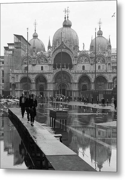 Acqua Alta, Piazza San Marco Metal Print