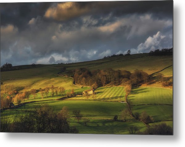 Across Dovedale At Sunset Metal Print