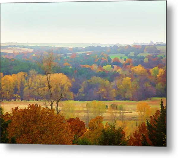 Across The River In Autumn Metal Print