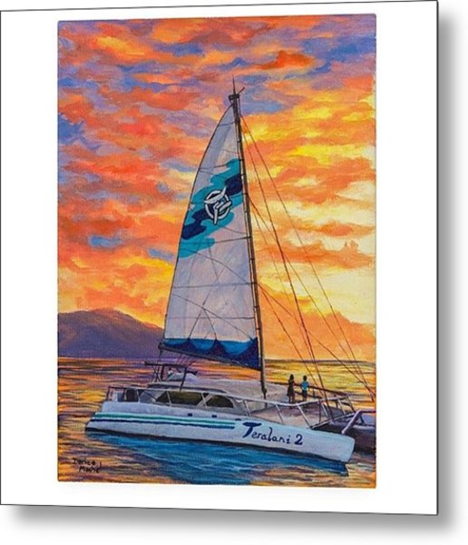 Acrylic Painting sunset Cruise Metal Print