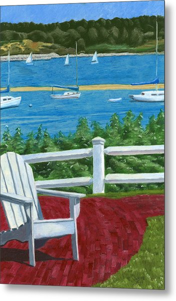 Metal Print featuring the drawing Adirondack Chair On Cape Cod by Dominic White