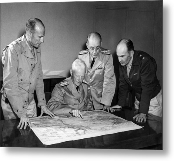 Admiral Nimitz Strategy Session - World War Two - 1942 Metal Print