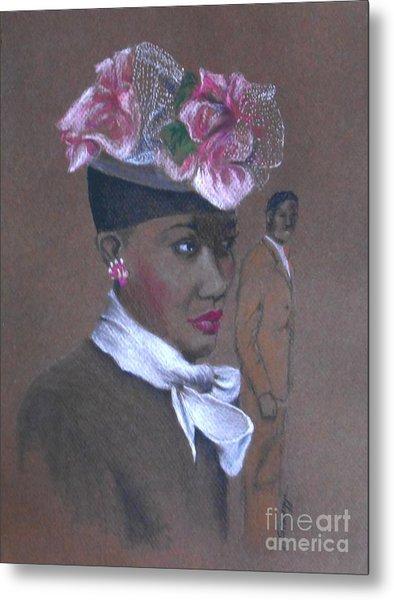 Admirer, 1947 Easter Bonnet -- The Original -- Retro Portrait Of African-american Woman Metal Print