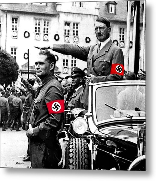 Adolf Hitler Giving The Nazi Salute From A Mercedes #3 C. 1934-2015 Metal Print