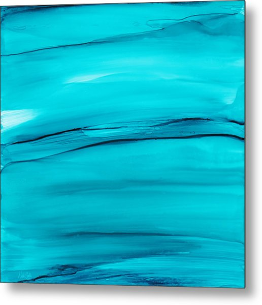 Adrift In A Sea Of Blues Abstract Metal Print