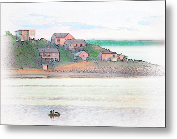 Adrift On The Bay At Sunset Metal Print