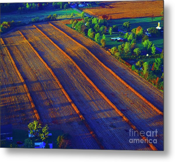 Aerial Farm Field Harvested At Sunset Metal Print