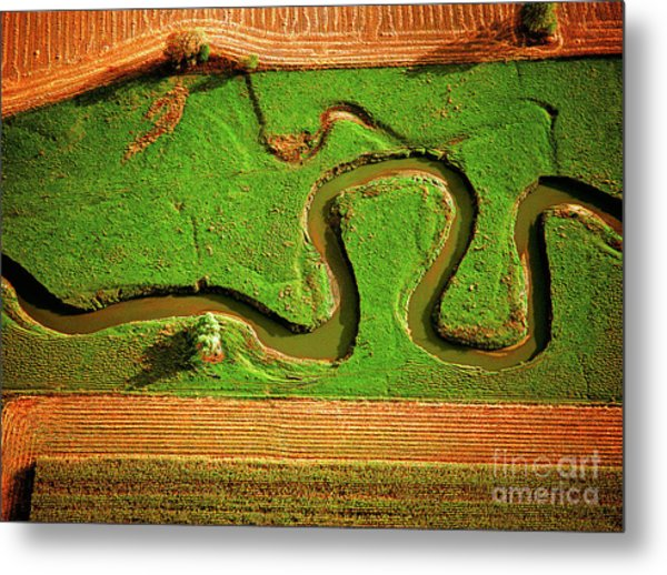 aerial, farm, stream, northern, Illinois, farms, meandering  Metal Print
