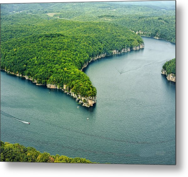 Aerial Image Of  Long Point Cliff Metal Print