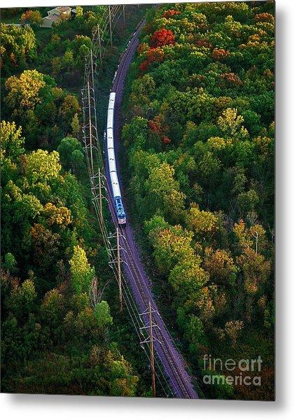 Aerial Of  Commuter Train  Metal Print
