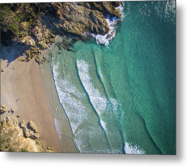 Aerial Shot Of Honeymoon Bay On Moreton Island Metal Print
