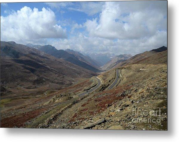 Aerial Shot Of Mountainous Karakoram Highway Babusar Pass Pakistan Metal Print