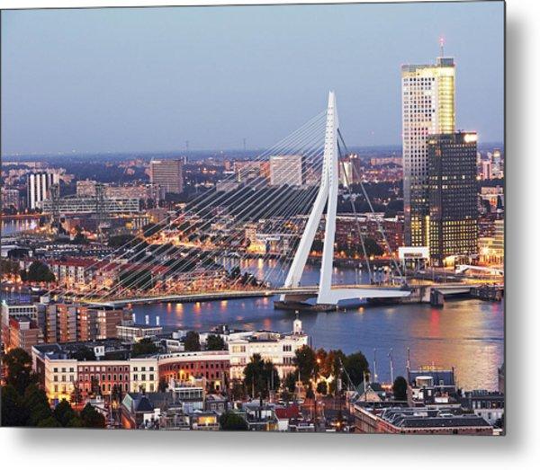 Aerial View Of Erasmusbrug (erasmus Bridge) Metal Print