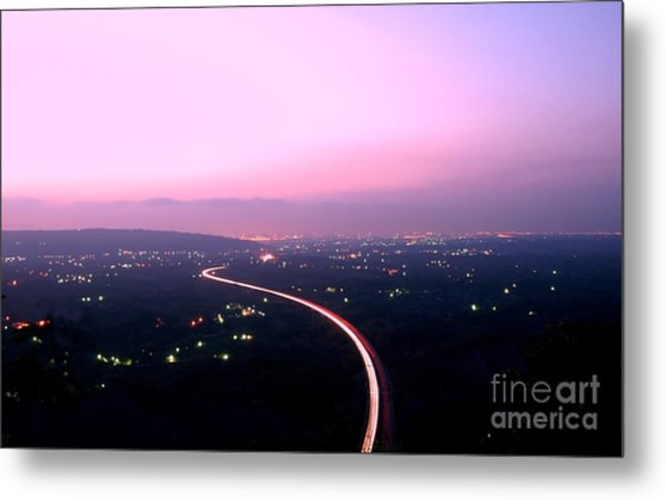 Aerial View Of Highway At Dusk Metal Print