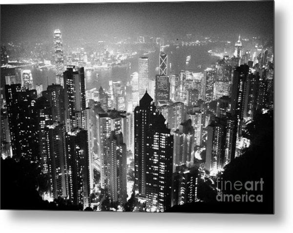 Aerial View Of Hong Kong Island At Night From The Peak Hksar China Metal Print