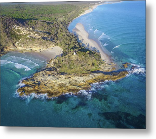 Aerial View Of North Point, Moreton Island Metal Print
