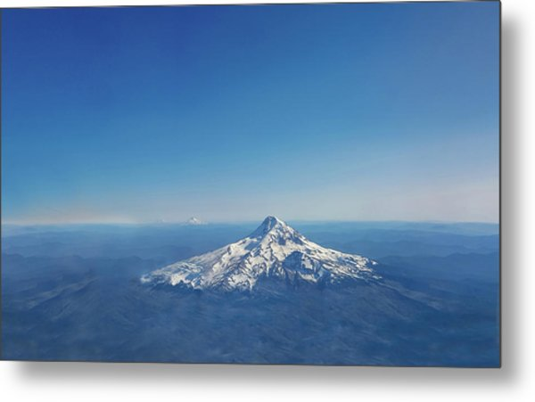 Aerial View Of Snowy Mountain Metal Print