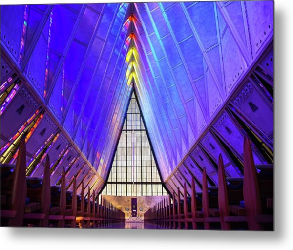 Metal Print featuring the photograph A F A Cadet Chapel Interior by Rand