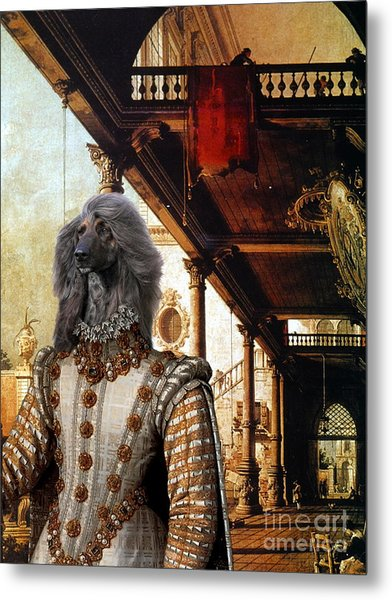 Afghan Hound-capriccio Of Colonade And The Courtyard Of A Palace Canvas Fine Art Print Metal Print