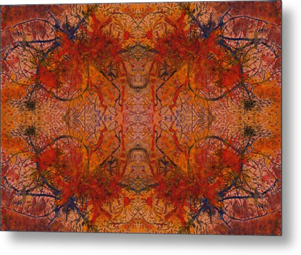 Aflame With Flower Quad Hotwaxed Version Of Acrylic/watercolour Metal Print