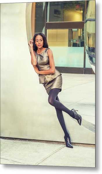 African American Business Woman Fashion In New York Metal Print
