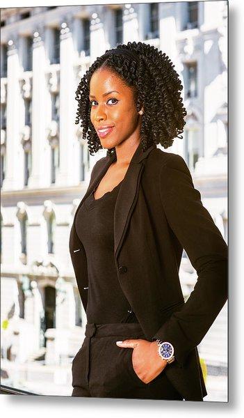 African American Businesswoman Working In New York Metal Print