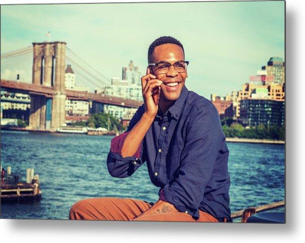 African American Man Traveling In New York Metal Print