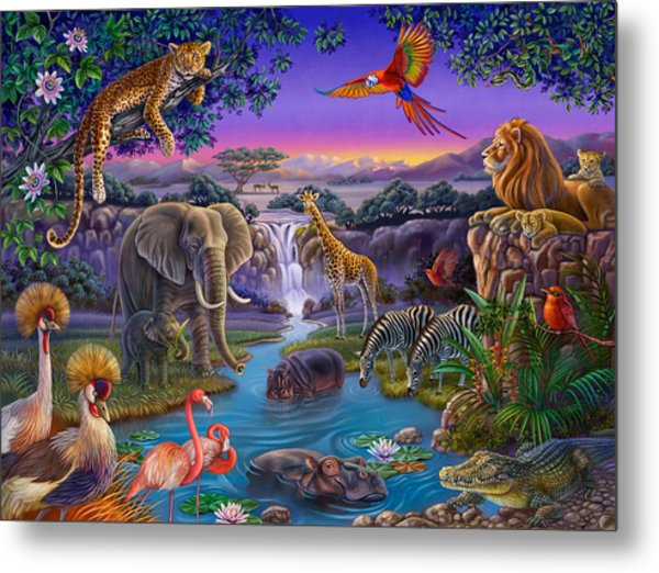 African Animals At The Water Hole Metal Print